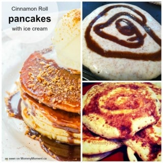 Cinnamon Roll Pancakes with Ice Cream