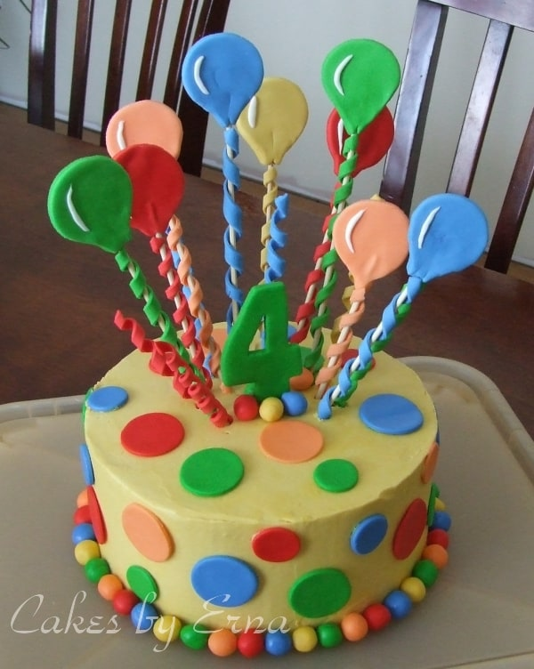Birthday Cake Decorated With Balloons : Balloon Cake Decorations Party Favors Ideas