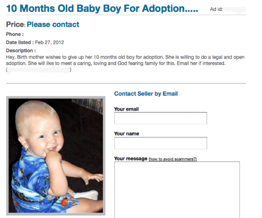 10 month old baby listed in the classifieds