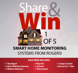 Win 1 of 5 #RogersSmartHome Monitoring Systems {valued $1500+} #giveaway