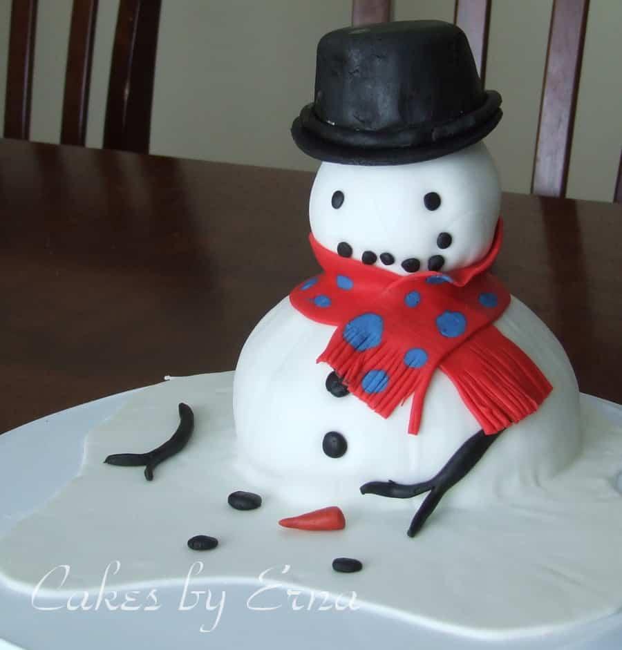 Melting Snowman Cake