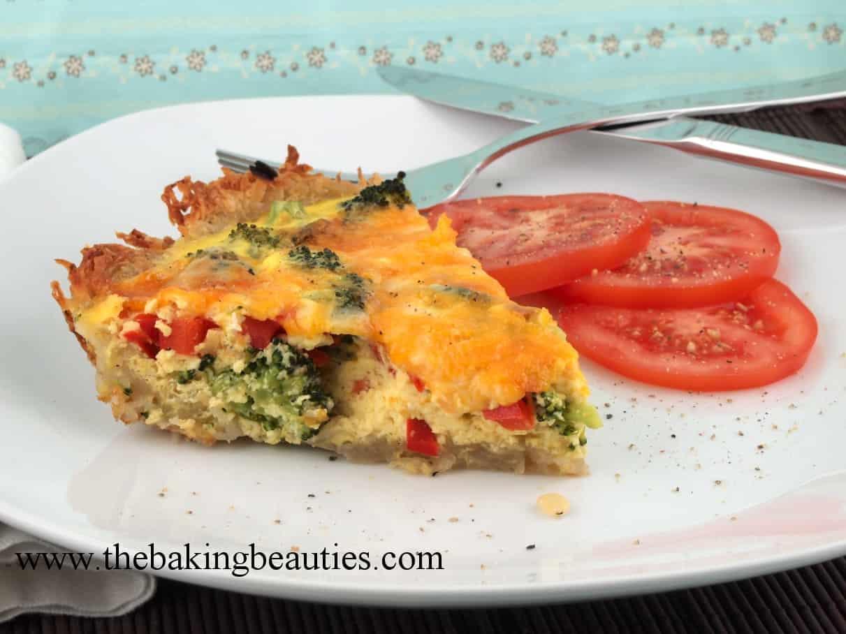 Broccoli and Cheese Quiche in a Potato Crust - Mommy Moment