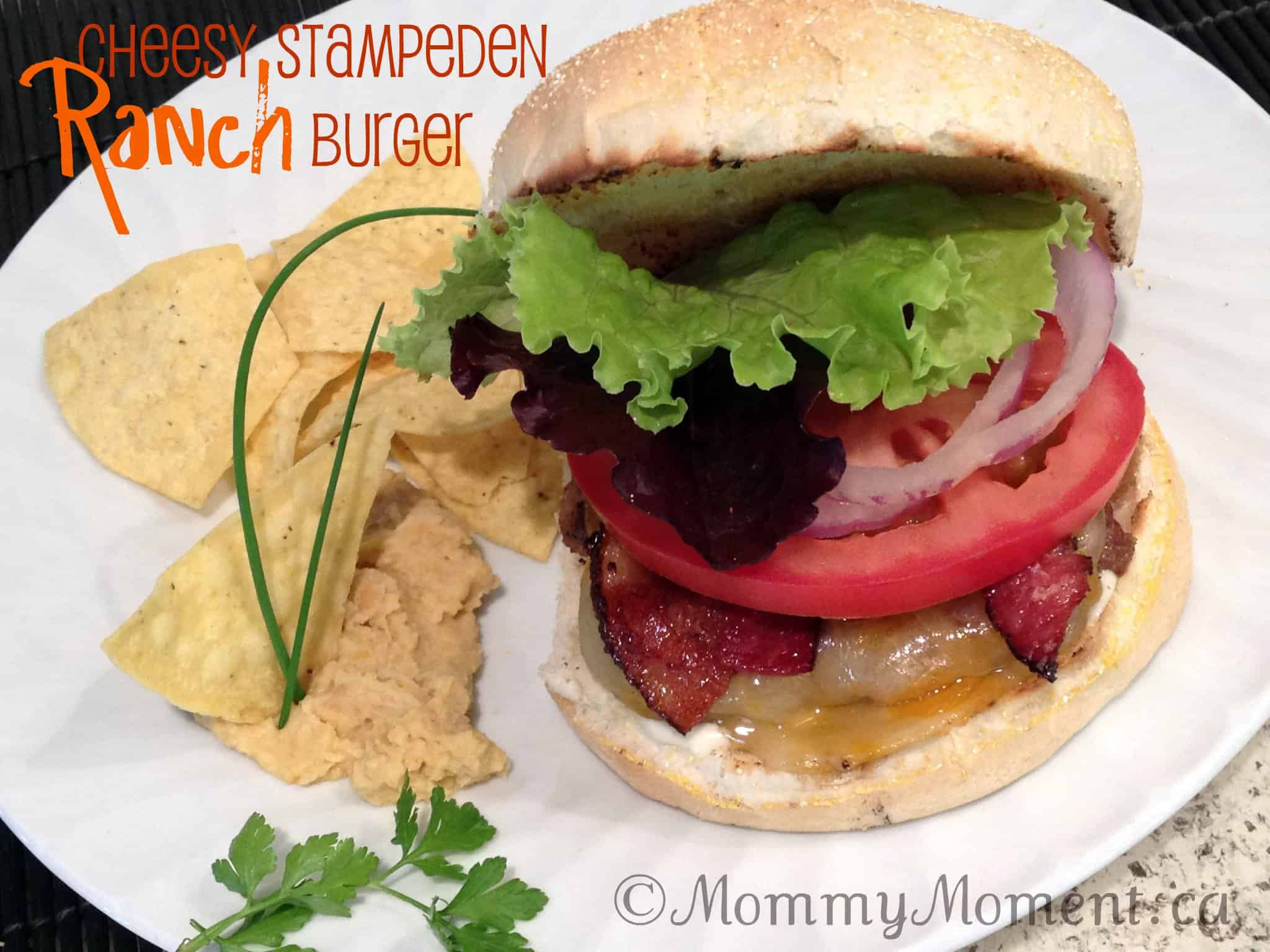 Cheesy Stampeden Ranch Burger {Hidden Valley Ranch #Recipe}