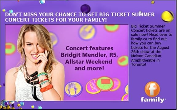 Family Channel's Big Ticket Summer Concert #giveaway