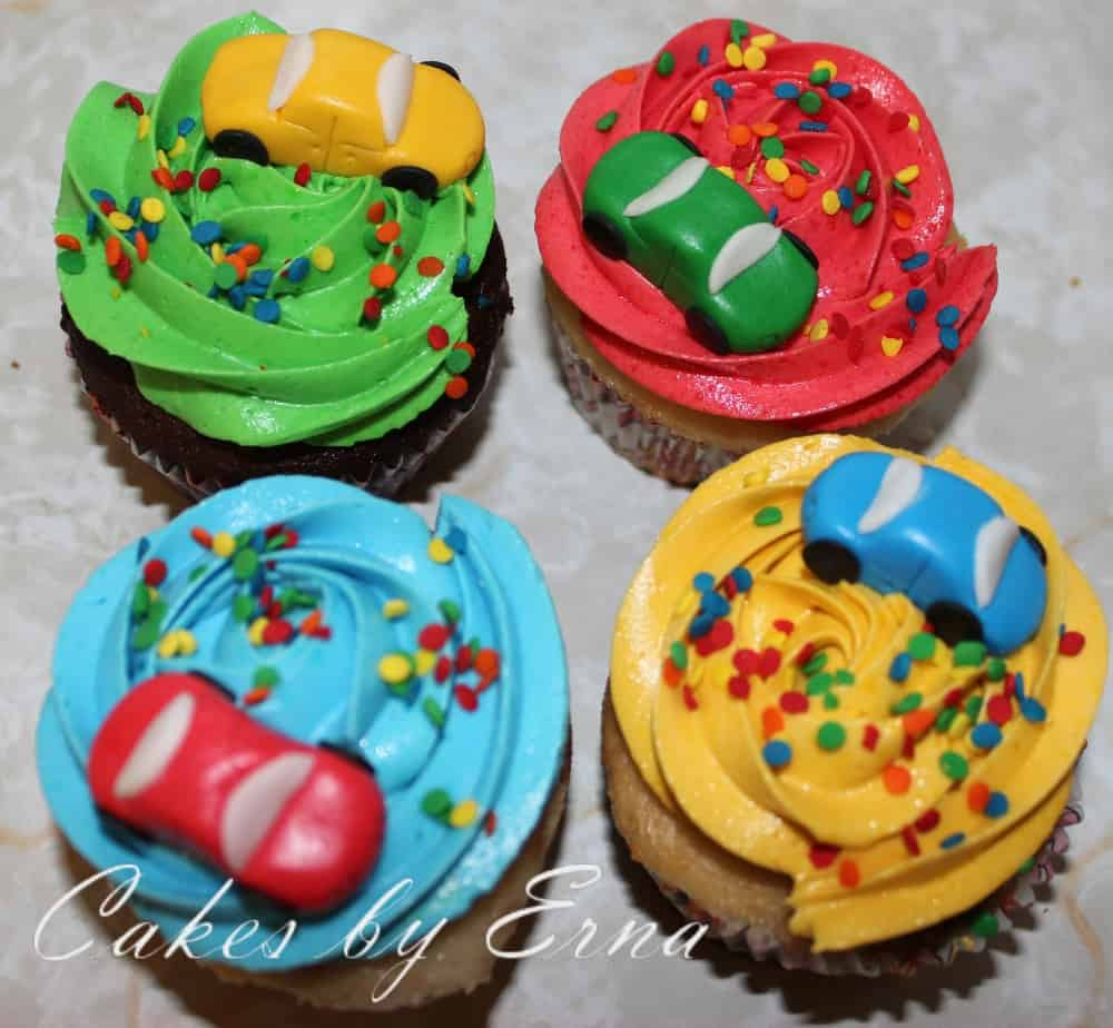 Cute & Bright Car Cupcakes