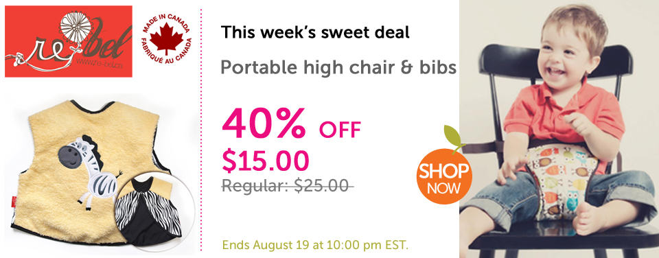Save 40% off Re-bel portable high chair & bibs this week on Sweetbabydealz.com