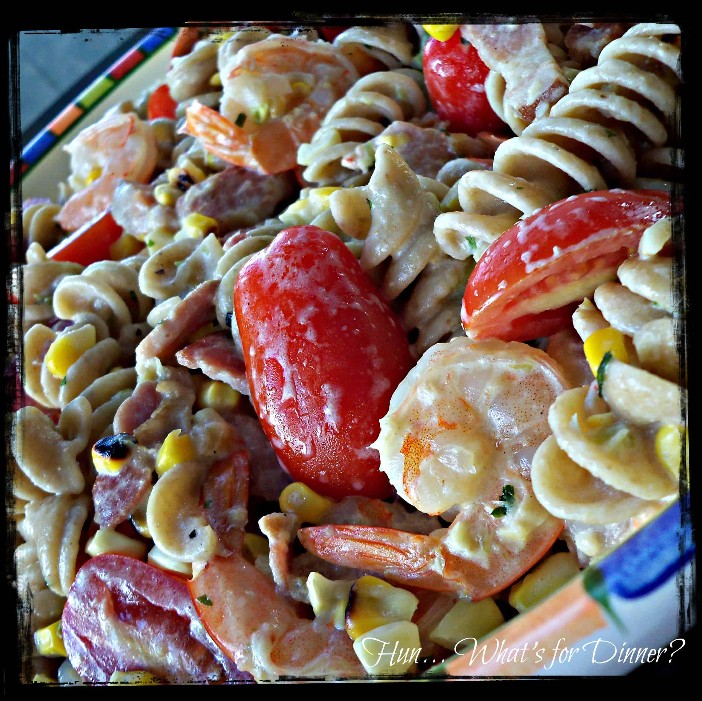 Grilled Corn, Bacon and Shrimp Pasta #recipe
