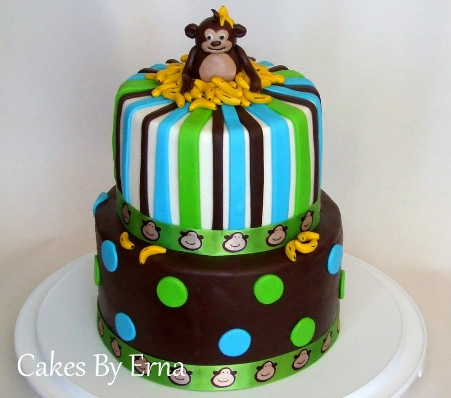 Awesome Youll Go Bananas Over This Adorable Monkey Birthday Cake Personalised Birthday Cards Paralily Jamesorg