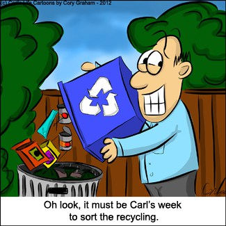 When it's HIS week to recycle #Cartoon - Mommy Moment