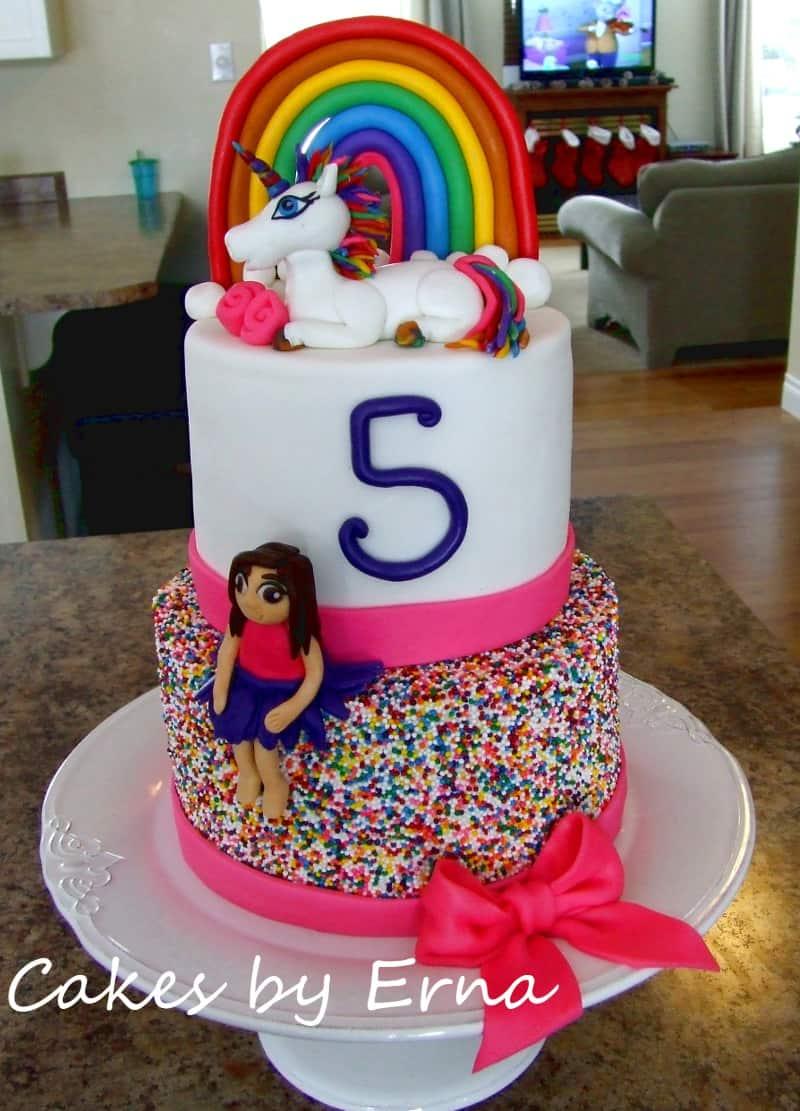 A Colorful Unicorn Birthday Cake #CakesbyErna