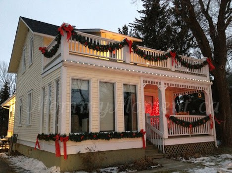 decorated house with bows