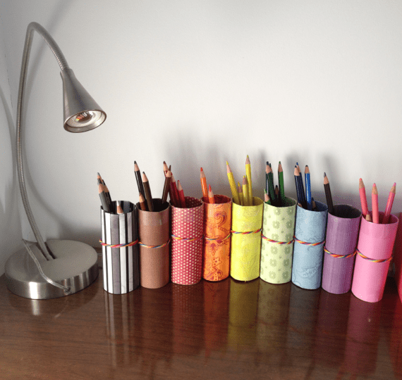 Diy pencil crayon holder from recycled toilet paper rolls Diy pencil holder for desk