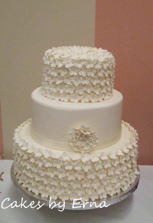 Beautiful White Flower Wedding Cake CakesbyErna