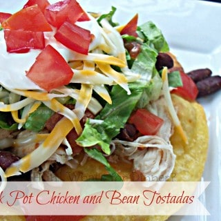 Crock Pot Chicken and Bean Tostadas