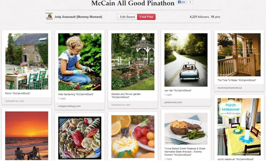McCain All Good Pinathon board