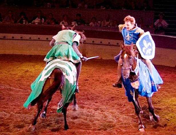 While other dinner shows in town are in more traditional venues, Medieval Times is located in an actual castle (in Medieval times, castles were developed to withstand attacks, many of which still stand today), complete with a drawbridge and moat that is meant to replicate a typical castle from 11th century Spain.