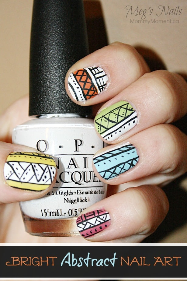 Bright Abstract Nail Art