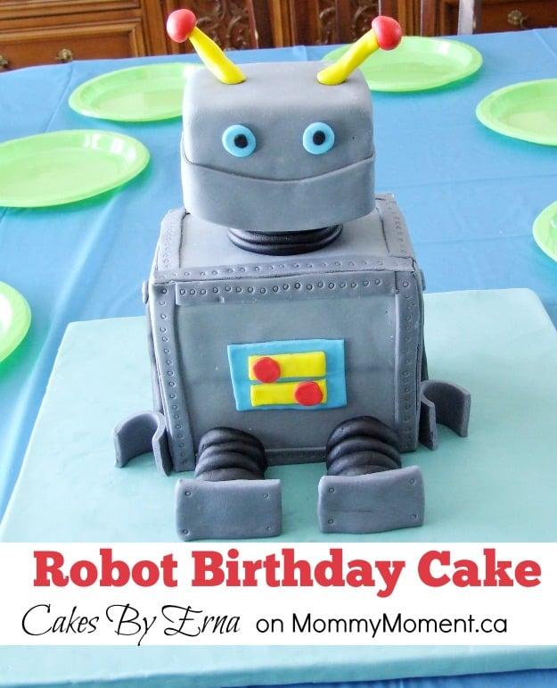 Awesome Robot Birthday Cake Mommy Moment Personalised Birthday Cards Epsylily Jamesorg