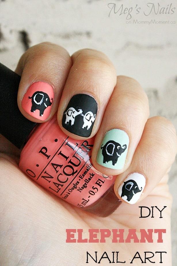 Acrylic Nail Designs Elephant: Elephant nail art design nailbees.
