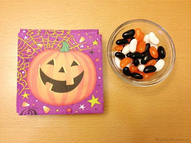 Halloween napkins and candy
