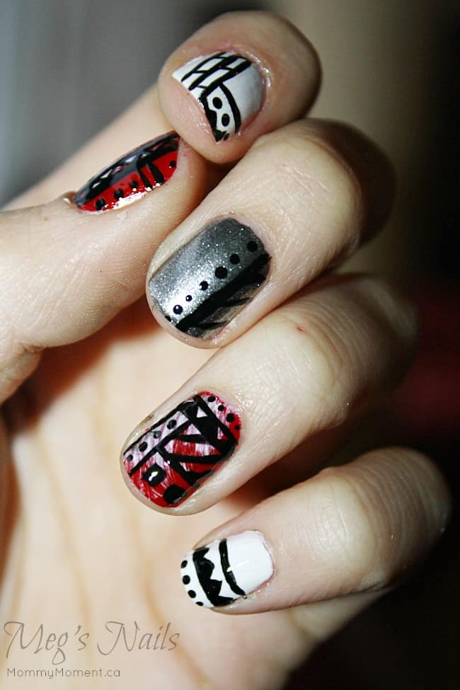 Tribal Nails with a Christmas Spin