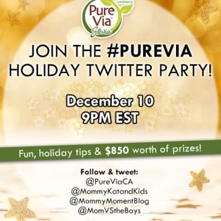 Join the @PureViaCA #PureVia Holiday Twitter Party December 10 9pm EST