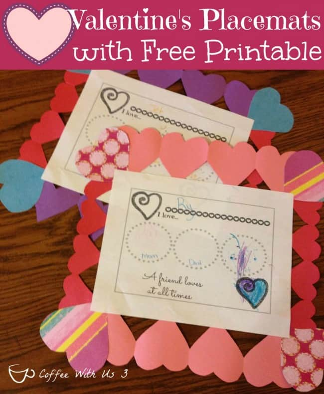 Valentines Placemats for Kids