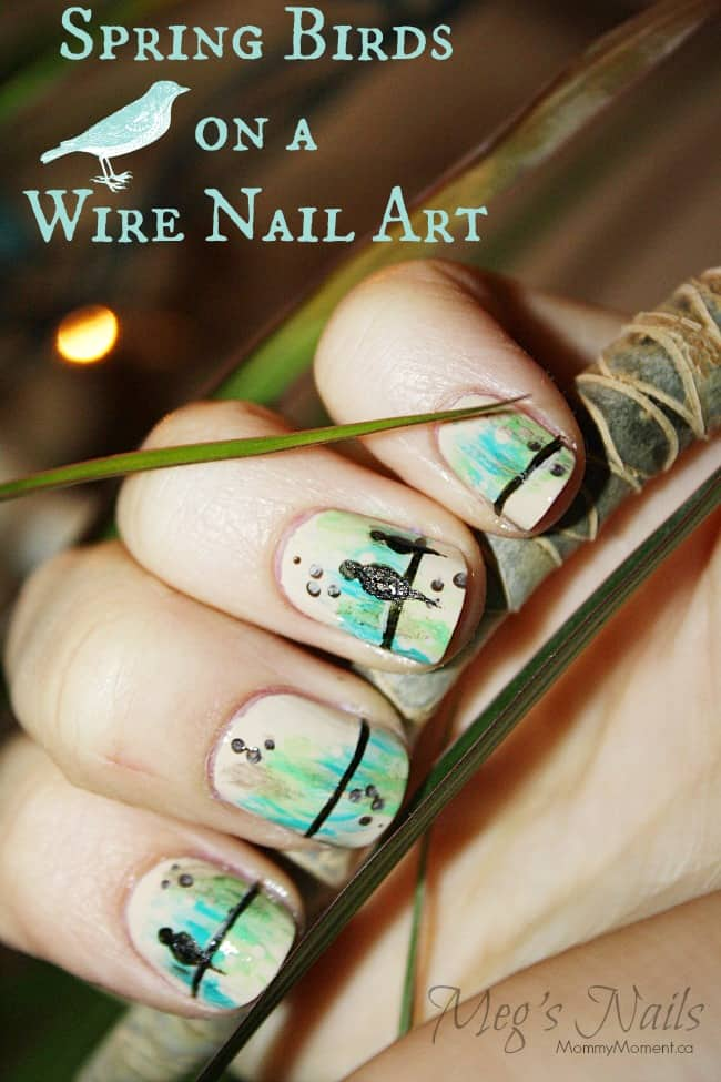 Spring Birds On A Wire Nail Art