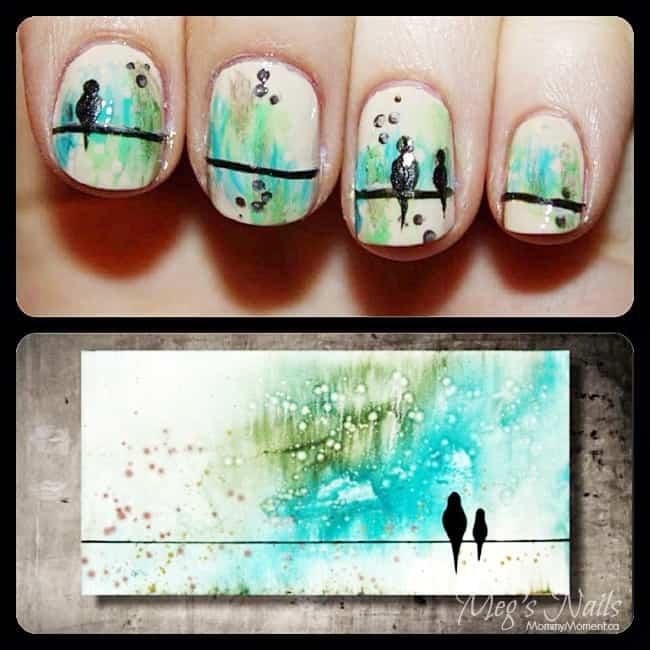 bird nail art painting