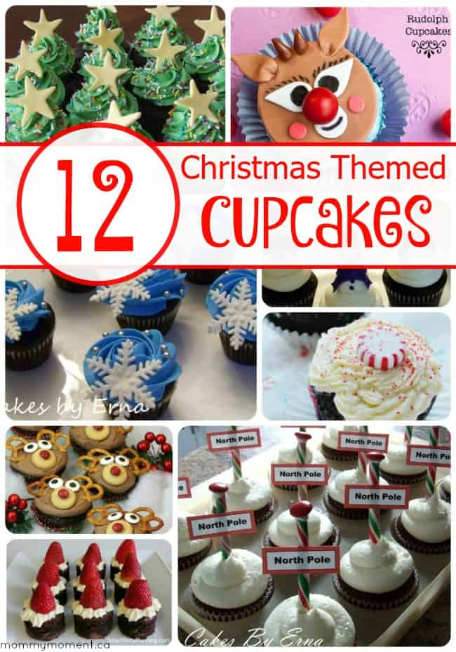 12 Christmas Themed Cupcakes