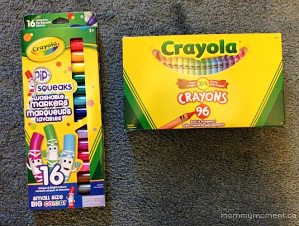 Crayola Crayons and pip squeaks