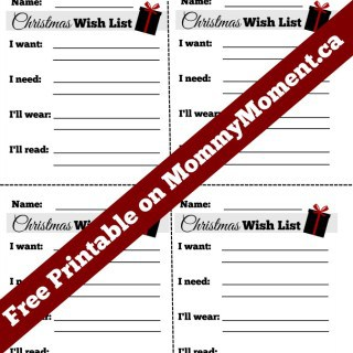 FREE CHRISTMAS WISH LIST PRINTABLES
