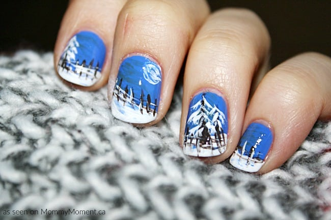 Winter Evening Nail Art Design