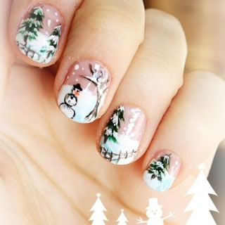 Enjoy this Winter Scene Nail Art all Winter Long!