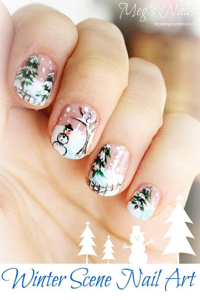 Winter Scene Nail Art