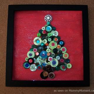 Framed Christmas Tree Button Art