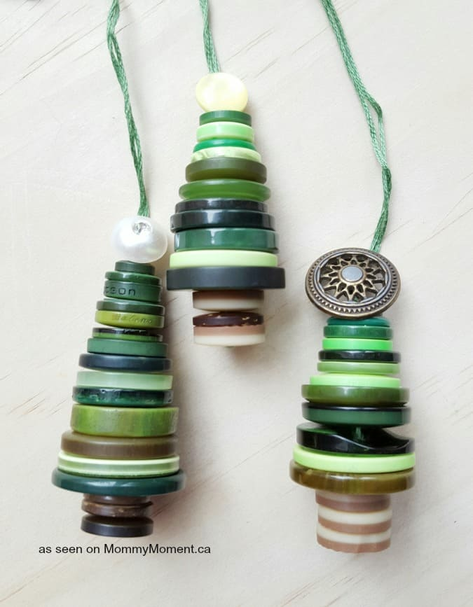 Button Christmas Tree Ornaments - Mommy Moment