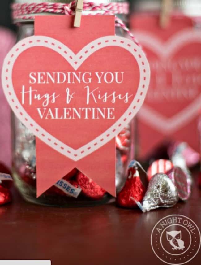 hugs and kisses valentine jar