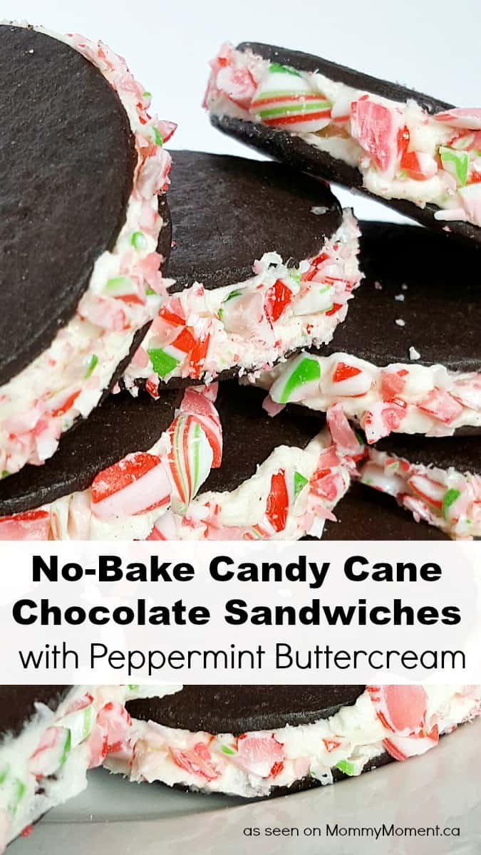 No-Bake Candy Cane Chocolate Sandwiches with Peppermint Buttercream