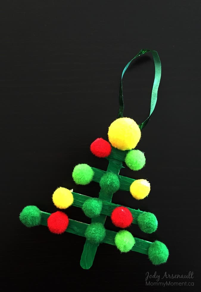 Popsicle Stick Christmas Tree Ornament with Pom Poms