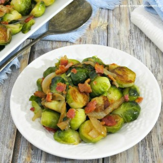 PAN ROASTED BRUSSELS SPROUTS WITH BACON AND ONIONS