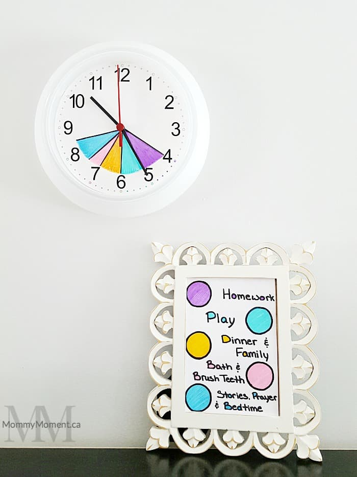 Make your own easy color coded After School Routine Clock to help guide the time you have from after school until bedtime.