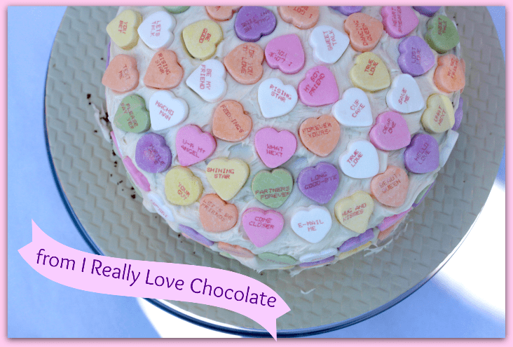 candy heart cake