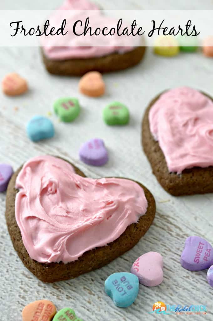 chocolate frosted heart cookies