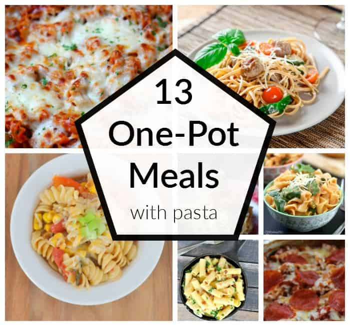 Put all your ingredients into ONE pot or pan and you have a no mess and no stress meal for your supper. Try one of these 13 One Pot Meals with Pasta