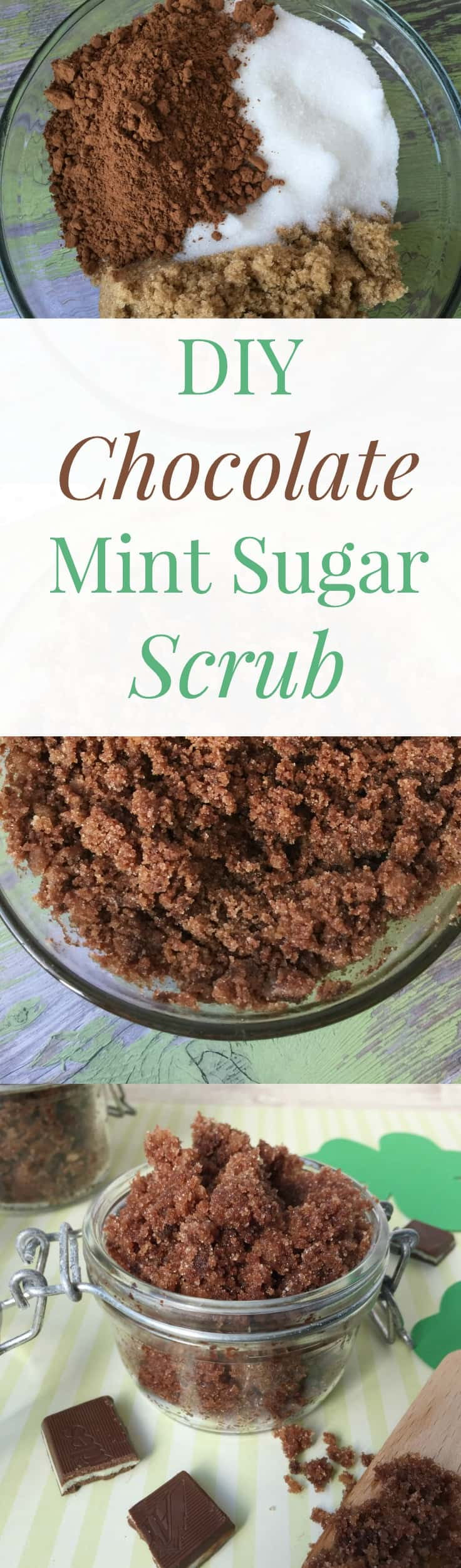 This DIY Chocolate Mint Sugar Scrub is a treat for your skin and your nose. This recipe smells like Thin Mints and will yield 2 cups!
