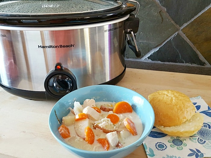 This Dilly Cream Cheese Chicken & Veggie Slow Cooker Soup is a creamy broth soup, packed with nutritious and flavorful hearty veggies, and chicken.