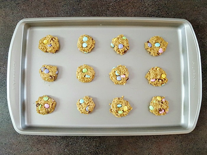 Peanut butter, oatmeal, chocolate chips and M&M's are what makes a yummy monster cookie. What sets these apart is that they are baked without flour.