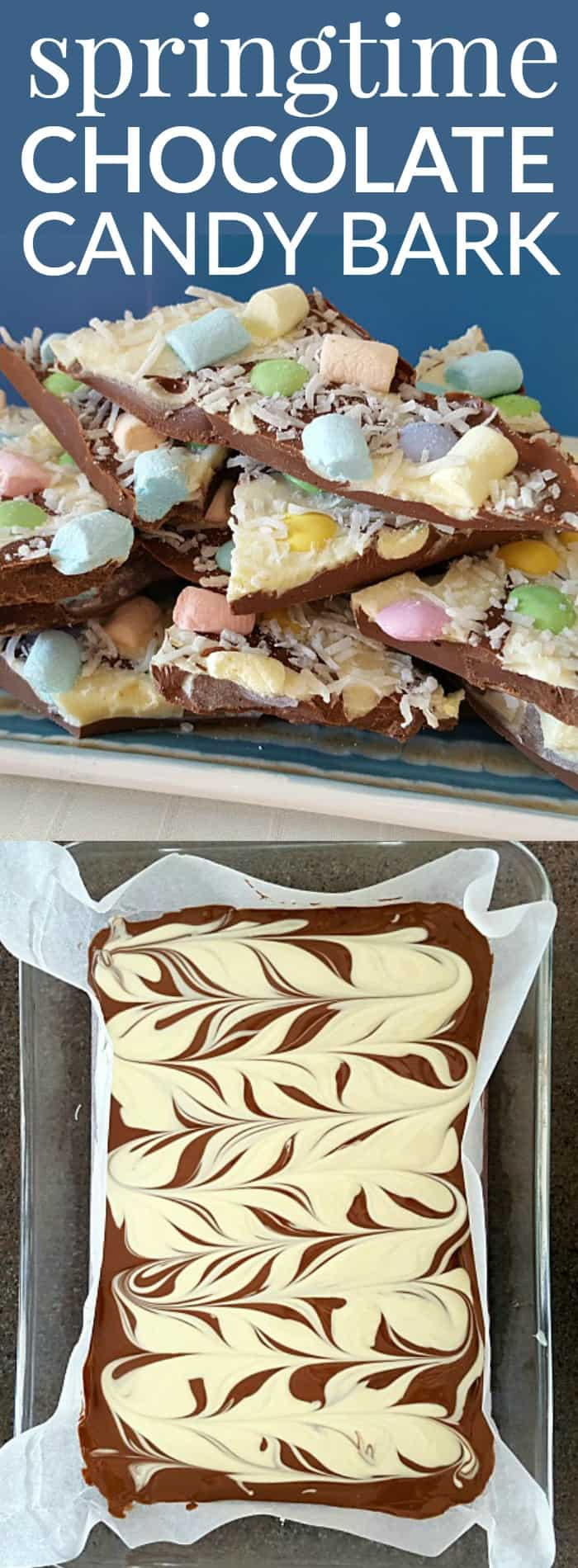 This springtime chocolate candy bark is easy to make and tastes so yummy.