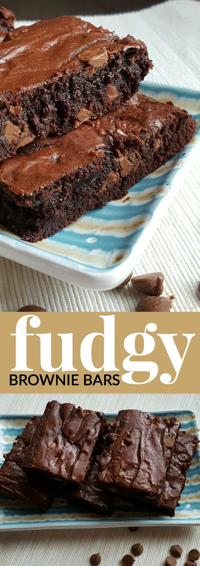 These fudgy brownie bars are the perfect dessert. They are an irresistibly delicious crowd pleaser.